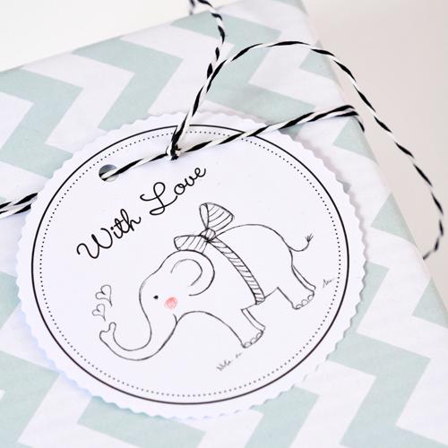 Geschenkanhänger-Set Elefant