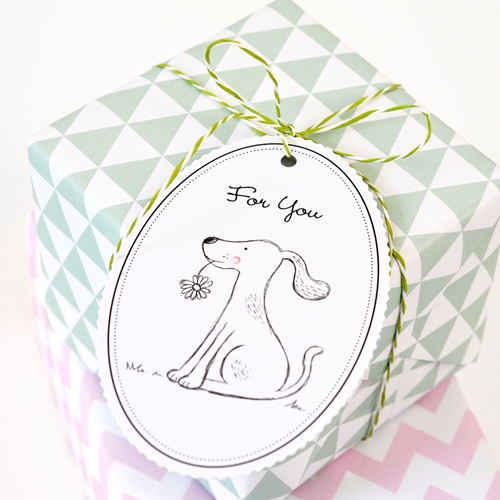 Geschenkanhänger-Set Hund