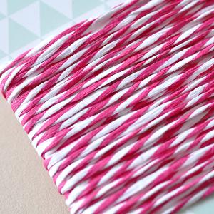 5 Meter Papierkordel Pink-Weiß