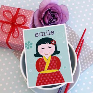 Postkarte Japanerin